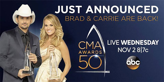 Brad Paisley, Carrie Underwood host 50th Annual CMA Awards