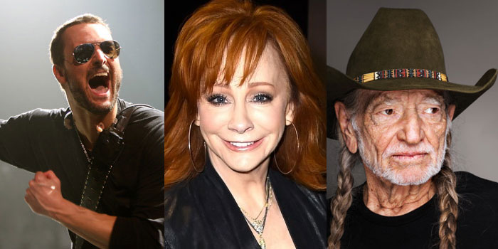 Eric Church, Reba, Willie Nelson