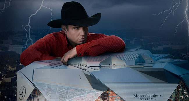 Garth Brooks performing at Mercedes-Benz Stadium