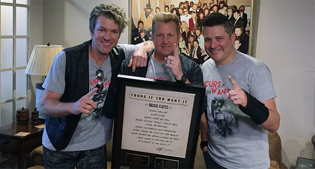 "Rascal Flatts celebrate ""Yours If You Want It"" No. 1"