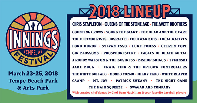 Chris Stapleton, Queens of the Stone Age and the Avett Brothers To Headline Inaugural Innings Festival at Tempe Beach Park & Arts Park March 23-25, 2018
