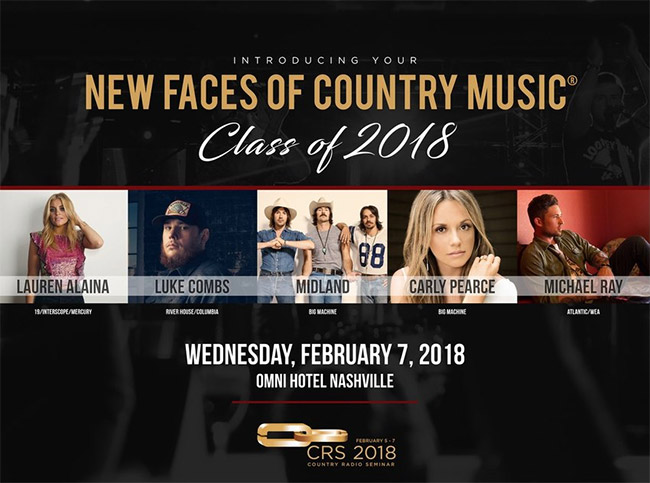 CRS announces 2018 New Faces of Country Music Show performers