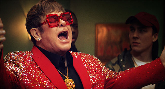 Elton John in Snickers ad