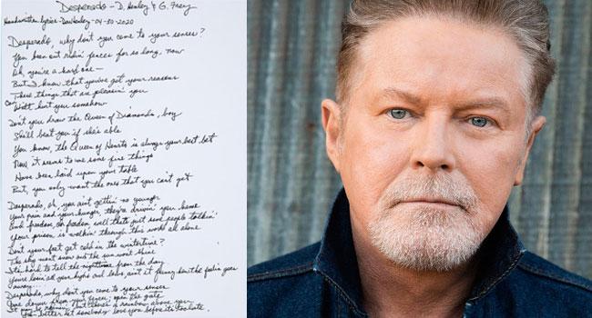 Don Henley handwritten 'Desperado' lyrics at auction