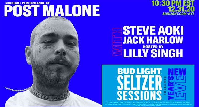Post Malone headlining Bud Light Seltzer Sessions NYE 2021 Music Spectacle | The Music Universe