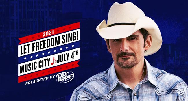 Brad Paisley headlining Nashville's July 4th from Lower Broadway
